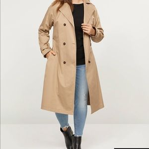 Lane Bryant Khaki Belted Trench Coat with Pockets